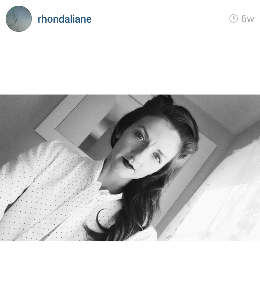Rhondaliane wearing our polka dotted button down. Loving the vintage look this black and white photo gives.