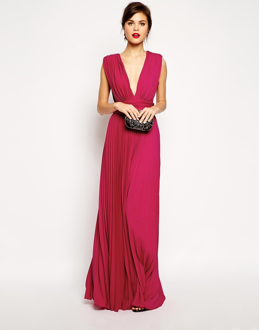 Red Carpet Pleated Deep Plunge Maxi Dress