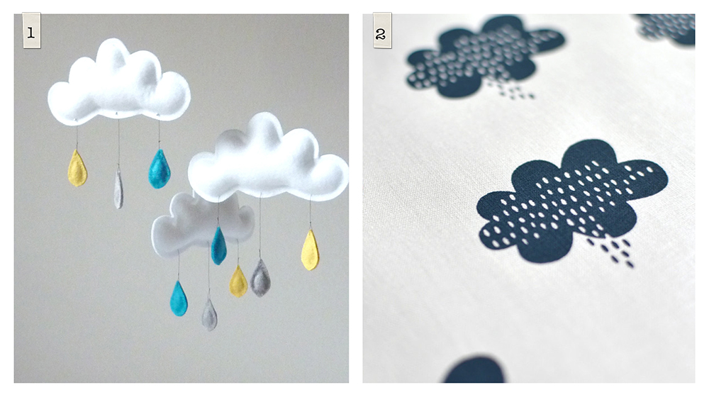 Etsy: 1. Rain Cloud Mobile by Le Petit Papillon, 2. Stormy Weather Fabric by Maze & Vale