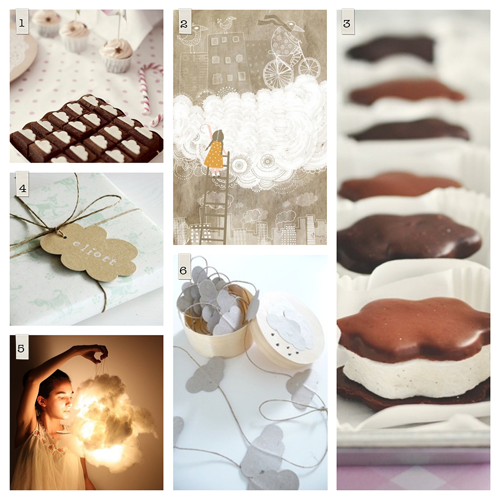 Pinterest: 1. Cloud Brownies via Un Beau Jour, 2. White Cloud by Dinara Mirtalipova, 3. Chocolate Cloud Cookies, 4. Gift tags by Ocechou, 5. Photograph source unknown, 6. Cloud Garland via Esprit Boheme