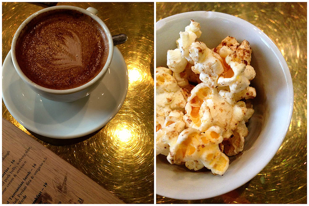 Cinnamon chilli popcorn served with coffees