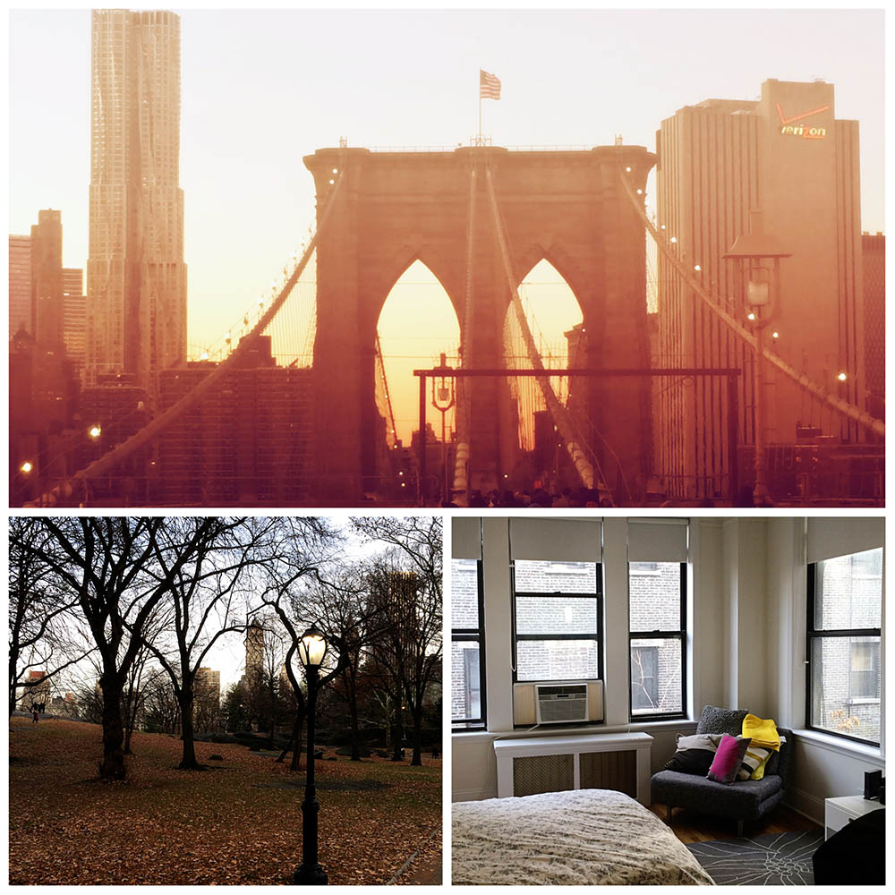 Brooklyn Bridge // Central Park // Our sweet little apartment, quirks and all.