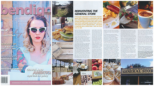 Autumn 2014: A favourite held close to the hearts of locals in the green hills of Glenlyon; a renovated milk bar becomes one of Bendigo's favourite brunch spots; and a family owned greengrocer-meets-cafe with a passion for supporting local farmers and foodie events. Ever curious about the reinvention of the general store, here are three places I love. Full article. Corresponding blog post with links & the Raspberry, Chocolate & Almond Tea Cake recipe. Facebook / Twitter / RSS / BlogLovin' / Newsletter /  Instagram /  Pinterest
