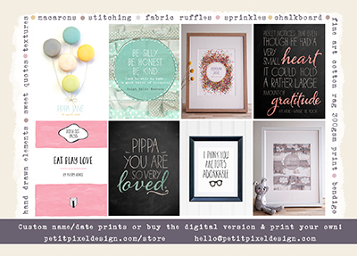 When I'm not writing, I'm designing custom prints for weddings, nurseries and everything in between. Click  here  to see the range of locally designed pieces available :)