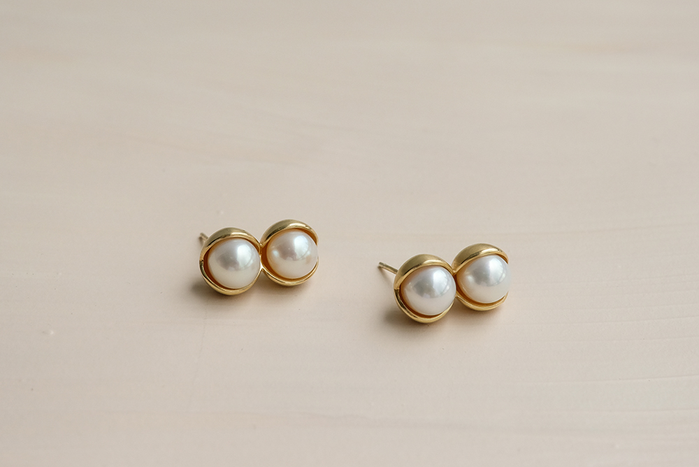 Fruity double pearl earrings