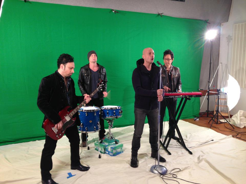 Derek Nicoletto and band filming the new music video at the Gibson Hit Factory.