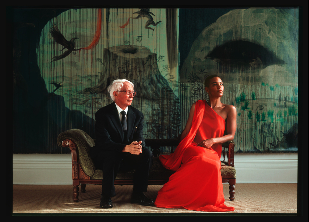 Our Spring-Summer 09 Campaign featuring art-dealer Peter McLeavey and performer Sheba Williams. Artist Bill Hammond appears in the backdrop.