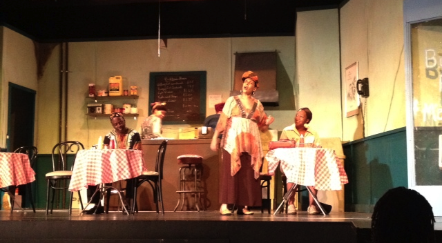 A scene from Bubba's Fish Market, whose final performance was cancelled by the storm.