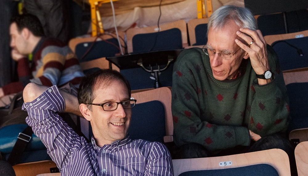 John Rando (left) talks timing with his playwright, David Ives.  Photo credit: James Leynse.
