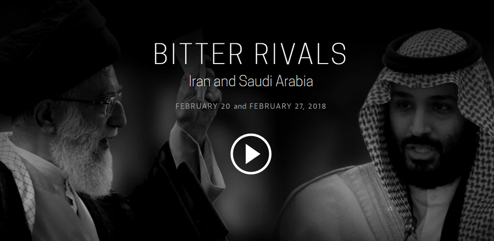 "Bitter Rivals: Iran and Saudi Arabia  - In a two-part series, FRONTLINE investigates the inside story of how a dangerous political rivalry between Iran and Saudi Arabia has plunged the Middle East into sectarian war, a current expression of the Shia - Sunni schism, bringing unprecedented levels of violence — with exclusive, on-the-ground reporting from inside both countries as well as Yemen, Iraq, Pakistan, Syria, and Lebanon. . ""Bitter Rivals: Iran and Saudi Arabia"" tells the inside story of how this dangerous feud has plunged the Middle East into"