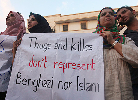 Muslims counter-protest the U.S. Embassy attacks in Libya. (CBC News)