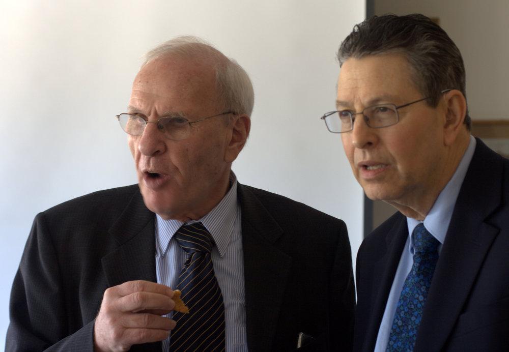 Israeli Ambassador Oded Eran (L) and Professor Steven Spiegel (R), director of UCLA CMED