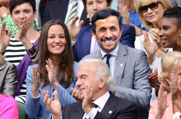 An intimate moment between the British socialite and the former Iranian president at Wimbledon. (Source: The Pan-Arabia Enquirer)