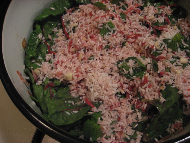 Iraqi False Mahshi: Layered Swiss Chard, Beets, Rice and Beef