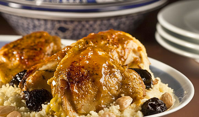 Moroccan chicken with prunes, almonds an  d couscous