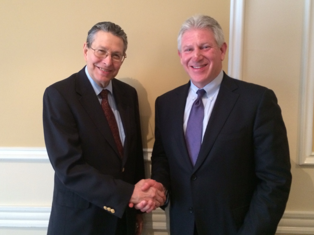 (L) CMED Director Prof. Spiegel with (R) Rep. Robert Wexler, May 22, 2014 at UCLA.