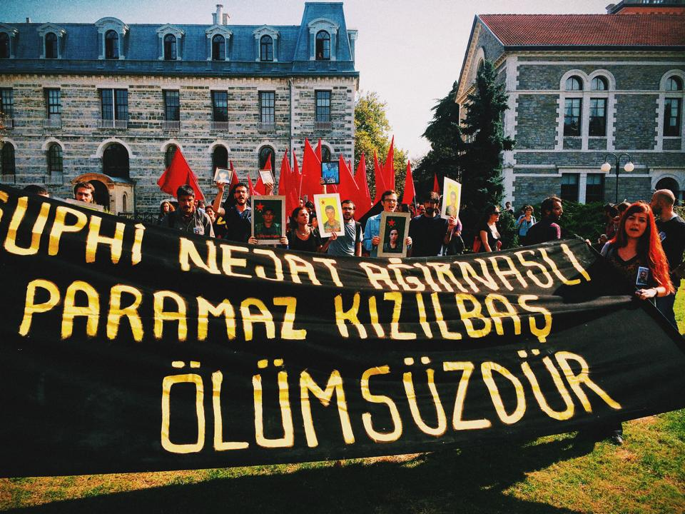 A memorial service held at Bogazici University for Nejat Ağırnaslı, a recent sociology graduate who was killed fighting alongside Kurdish forces in Kobane against the Islamic State (Photo Credit: Erin O'Brien)