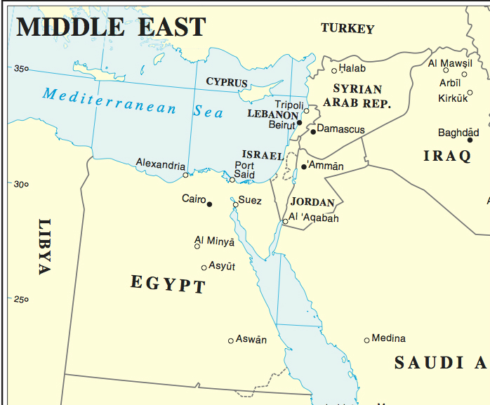 Middle East Region. Based on UN Map No. 3877 Rev 7.  2008.  NOTE: Map number has been removed.