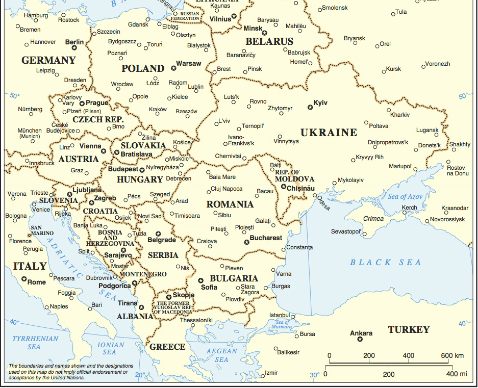 Central and Eastern Europe. Based on UN Map No. 4102 Rev 5.  2011. NOTE: Map number has been removed.