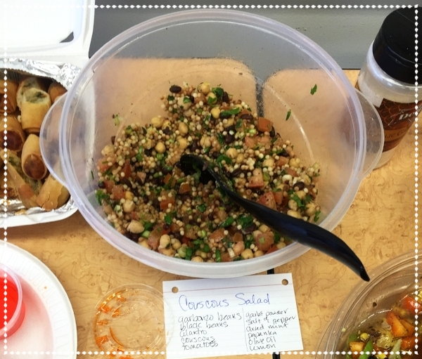 Mani's incredible Couscous salad, one of our favorite dishes at the potluck.