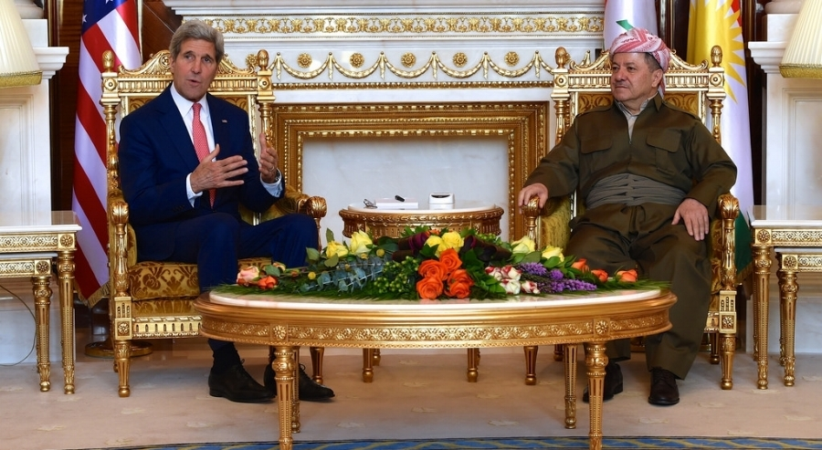 KRG President MasSoud barzani meets with US secretary of state john kerry in Erbil, Iraq, June 2014  [photo: US Dept of State via flickr]