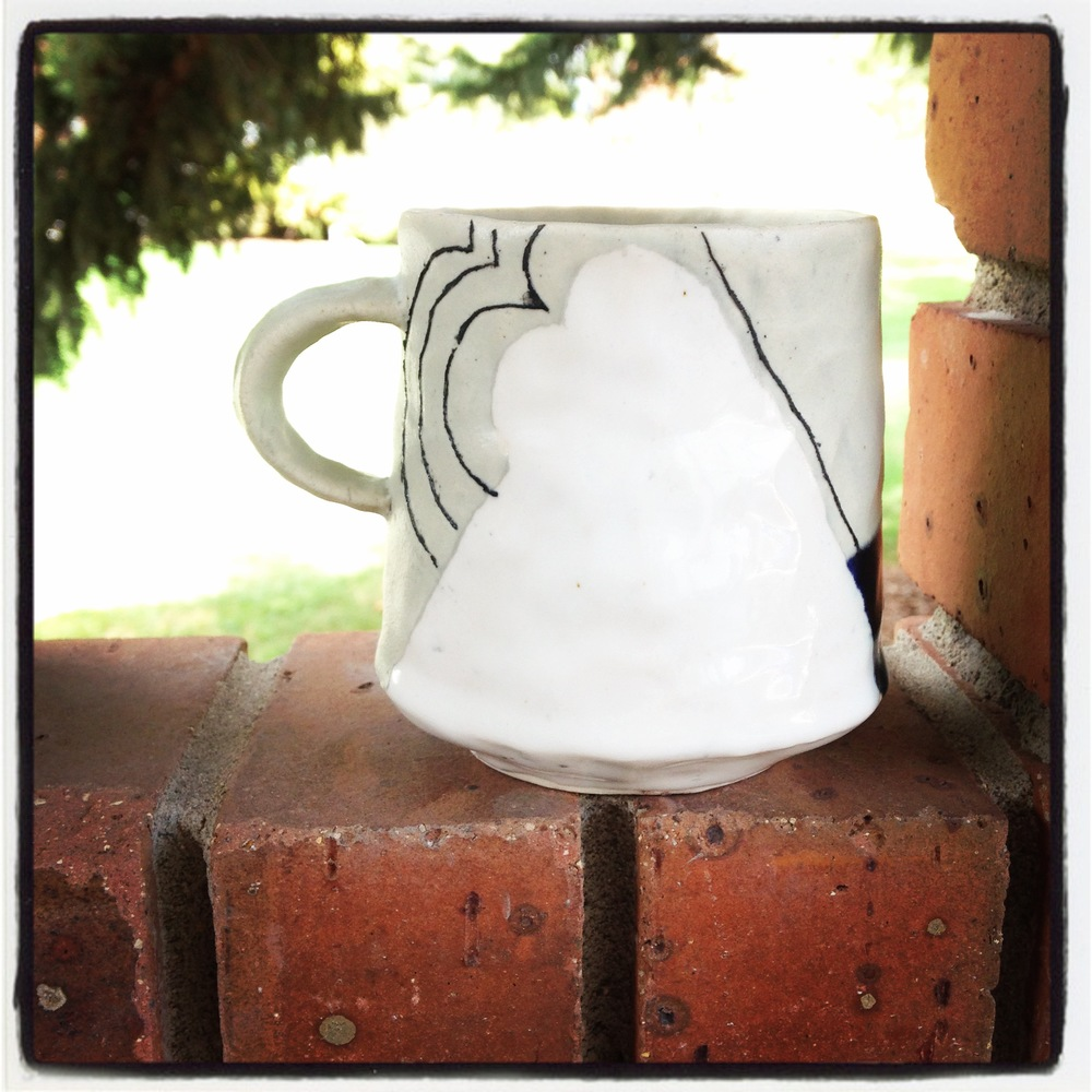 "Y is for ""You!"" (this is a picture of a cup that I made while in Montana)  I hash-tagged everything in this project with #libraryofcups and asked followers to add a picture of their own work photographed by themselves.  Please feel free to add your own work to the cupboard collection."