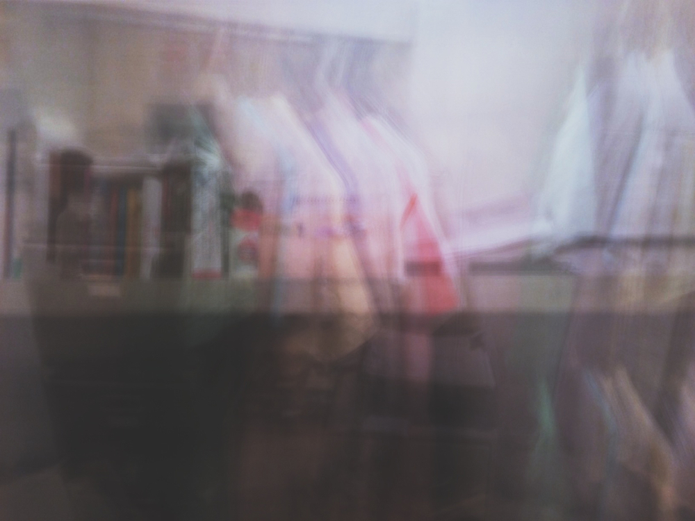 Averaged photo of my closet.