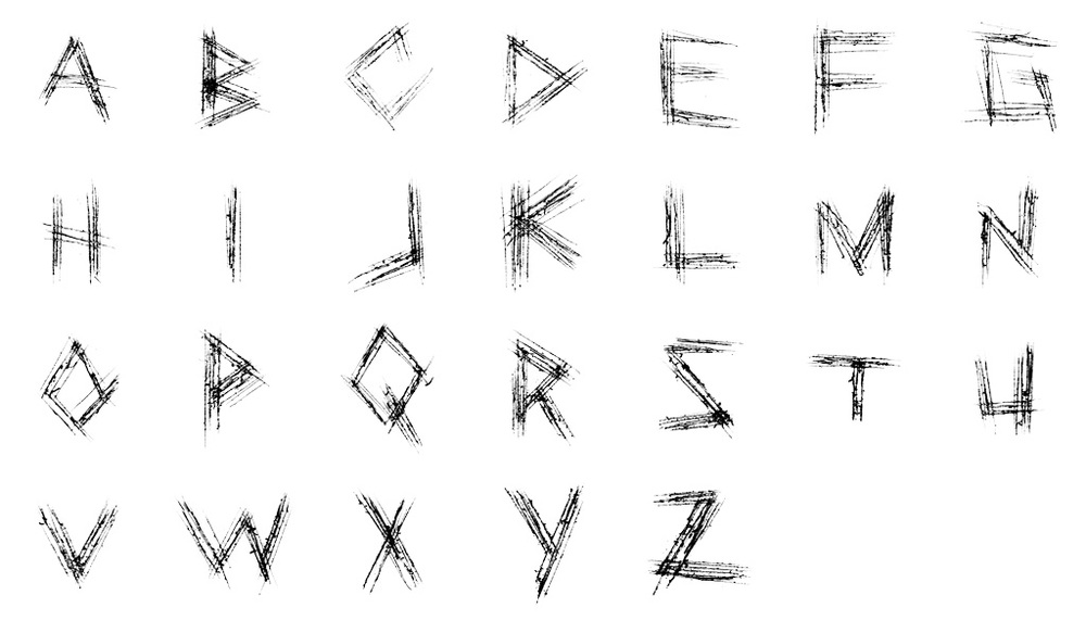 The alphabet for the scratch font we made