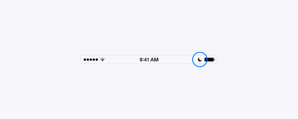 The moon icon in the status bar shows that Do Not Disturb is enabled.