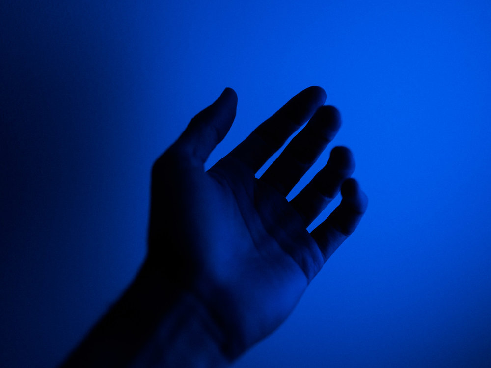 Experiments with coloured light. Blue is a powerful, vibrant colour on screen.