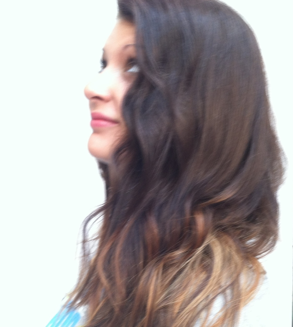 The ombre coloring techique gives dimension to long hair.