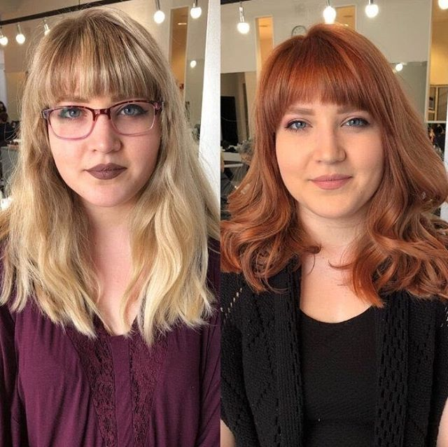Out with the blonde, in with the cinnamon! Katie loves her new look! You can trust the vision of TOMORROWS' Stylists to transform your hair color to suit your skin tone. Call 440-333-5056 for your consultation today! . . #makeover #beforeandafter #haircolor #haircolorideas #redhead #beauty #bangs #tomorrowssalon #rockyriversalon #goldwell