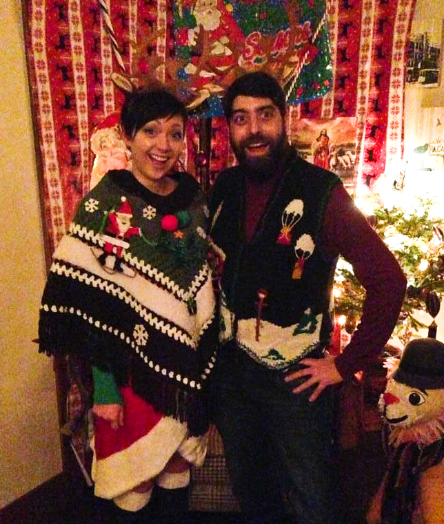 We also wear horrible Christmas sweaters to holiday parties.