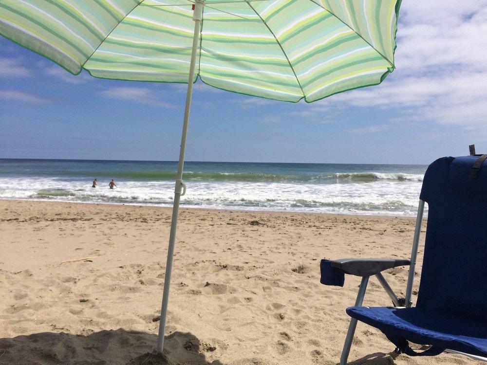 Enjoying a sunny beach day in Malibu.