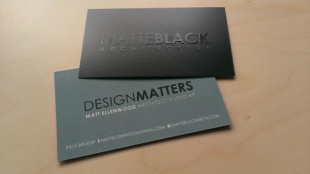 business cards — matte black architecture bloomington