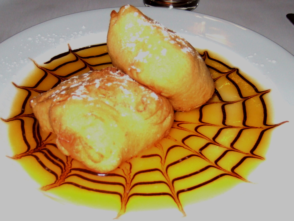 Caramel doughnuts in apricot coulis.JPG