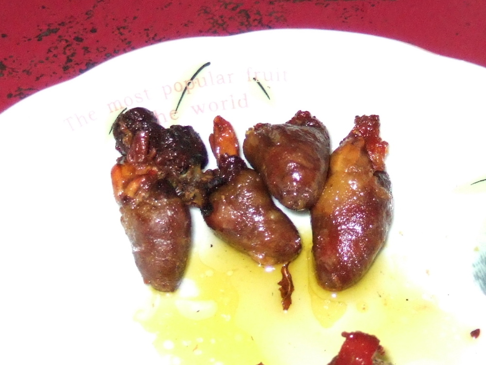 Grilled chicken hearts