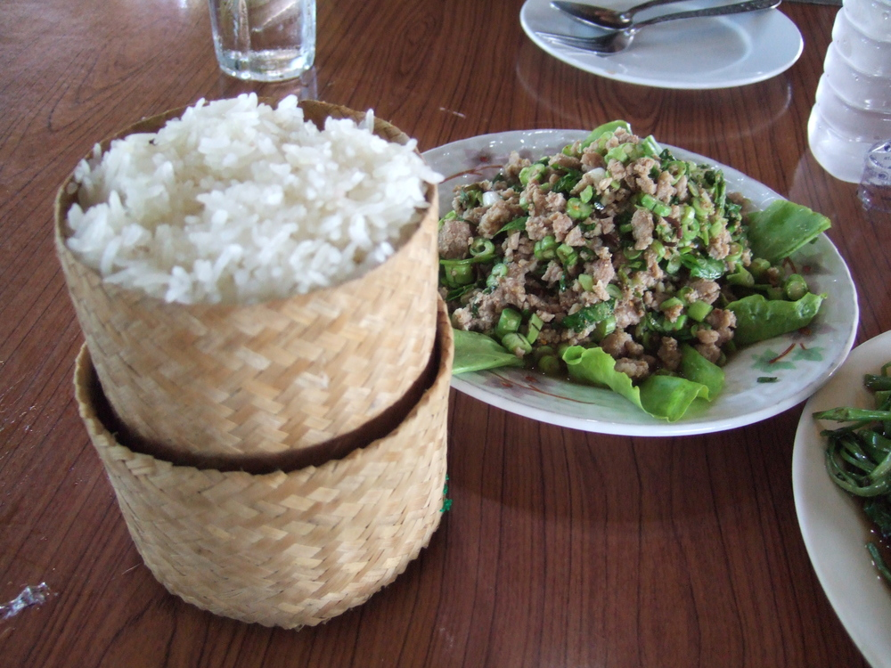 Sticky rice and Laap.JPG