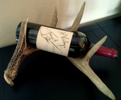 Had an old antler from my grandfather so I paired it with a special bottle of wine that Kris had.  Didn't take any work and looks great!