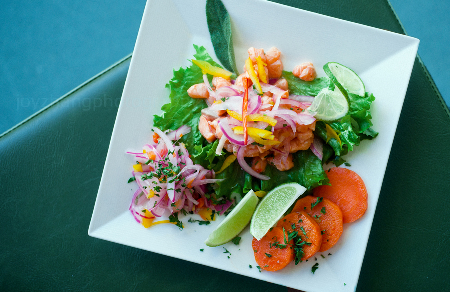 South American Style Fish Ceviche, made-to-order with red onion, jicama, aji mango lime dressing, garnished with sweet potato and criolla