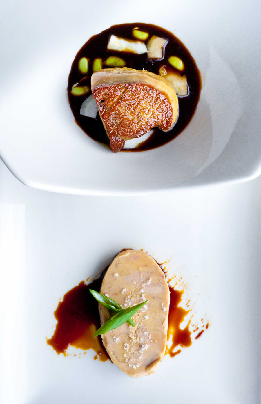 Duo of foie gras with ponzu and edamame