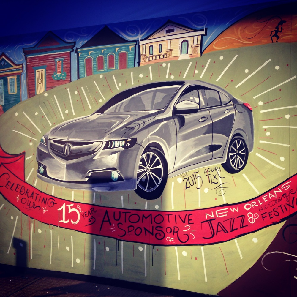 chalk mural drawn live for Acura
