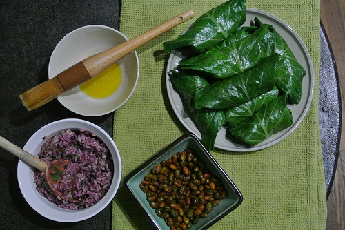 citrusy blueberry-parsley collard dolmas with spiced edamame.jpg