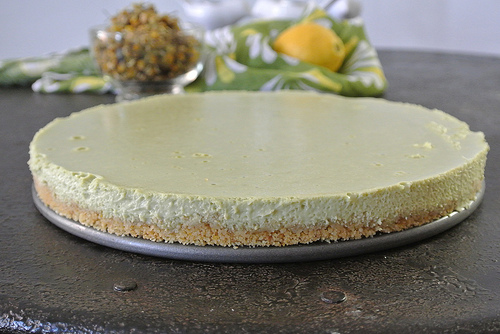 lemon-chamomile-matcha cream tart with a lemon snap crust table.jpg