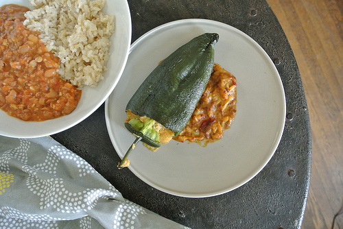 polenta chiles rellenos with pineapple-chipotle-pepita salsa table.jpg