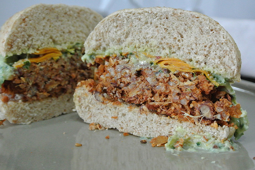 brown rice-adzuki burgers with ginger-parsley spread interior.jpg