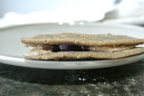 dead simple jumbo blueberry buckwheat pancake filled with almond butter detail.jpg