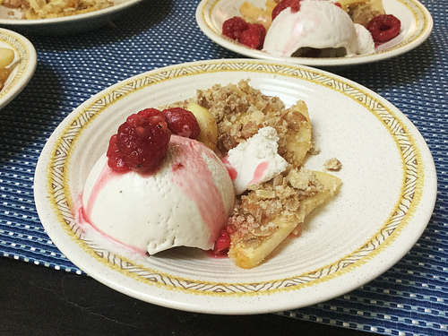 thanksgiving 2017 apple crisp with vanilla ice cream and brandied raspberries.jpeg