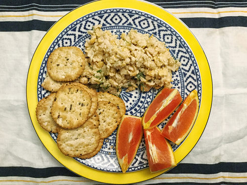dill orange and fennel chickpea salad with essential fluffy tahini spread plate.jpg
