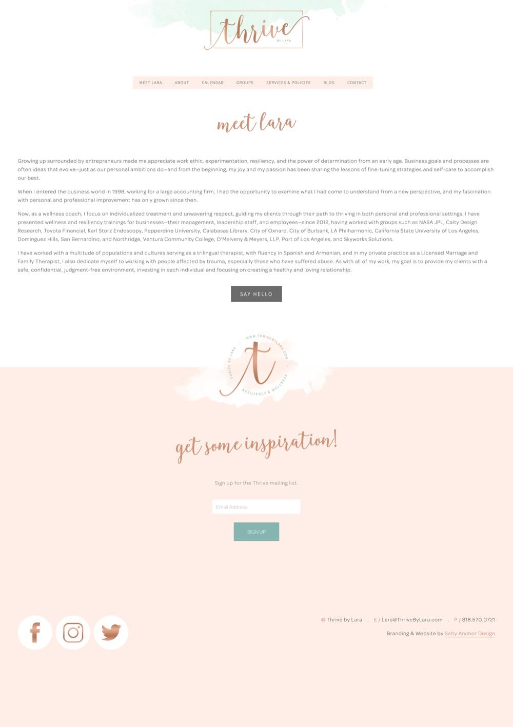Squarespace Website Design Secondary Content Page
